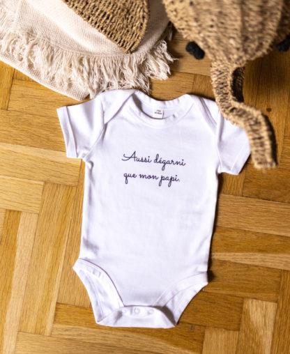 """Body pour bébé """"Aussi dégarni que mon papi"""" de couleur blanc"""