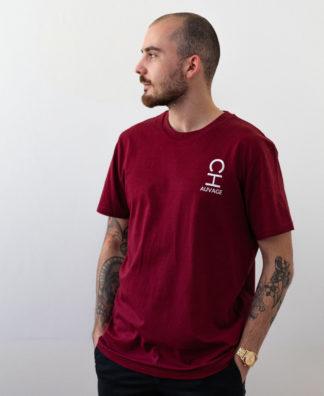 T-shirt Chauvage de couleur Burgundy