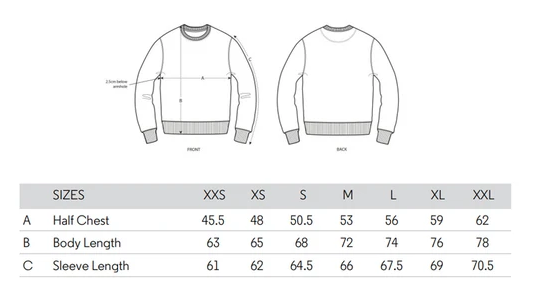 Guide tailles sweatshirt Chauvage