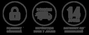 Les garanties Chauvage : paiement sécurisé, expédition sous 7 jours et retours gratuits