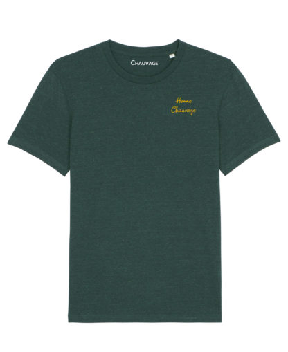 T-shirt Heather Green Homme Chauvage avec fil moutarde