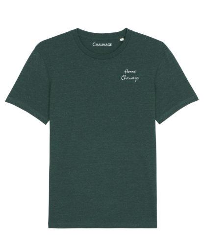 T-shirt Heather Green Homme Chauvage avec fil blanc