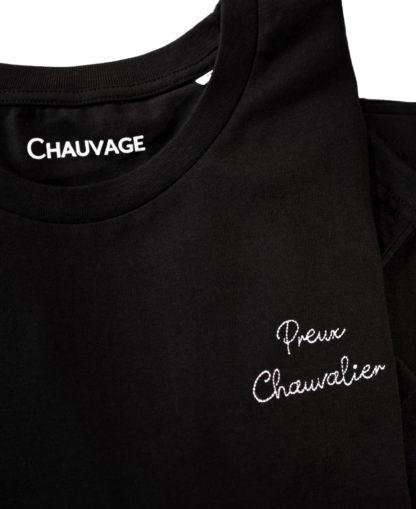 T-shirt Black Preux chauvalier avec fil blanc