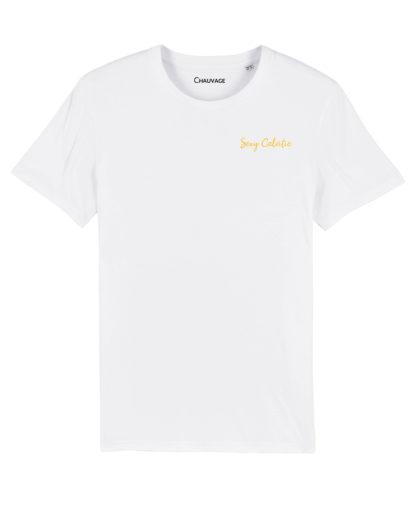 T-shirt White Sexy Calvitie avec fil moutarde