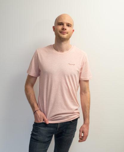 T-shirt Rose chiné et brodé avec fil rouge étrusque